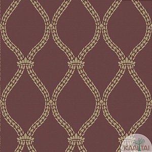 Papel de parede New Form Estilo Cordas Dourada e Vinho - NF-630607
