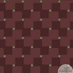 Papel de parede New Form Quadrados Vinho e Bordô - NF-630208