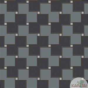 Papel de parede New Form Quadrados Chumbo e Prata - NF-630205