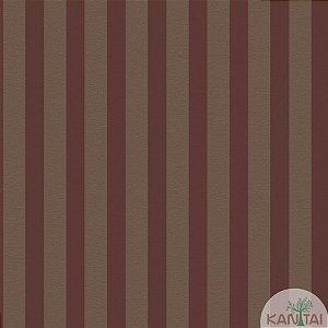 Papel de parede New Form Listrado Vinho e Dourado - NF-631007