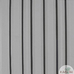 Papel de Parede Nickal Estilo Listrado Preto, Prata e Branco - NK53705