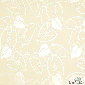Papel de Parede Nickal Estilo Folhas Perolá e Tons de Creme - NK53202