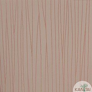 Papel de Parede Nickal Estilo Linhas Rosa Creme e Rosa Prateado - NK53504