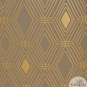 Papel de Parede Nickal Forma Geometrica Dourado e Cinza - NK 53406
