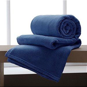 Manta Solteiro Azul Marinho Microfibra Corttex Home Design 1,50 x 2,00 mts