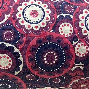 Tecido Corino Mandala Floral Azul e roxo