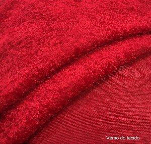 Tecido Boucle Felpudo Macio Vermelho