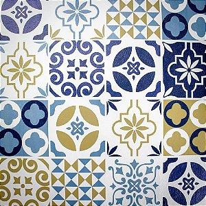 Tecido Corino Estilo Ladrilho Lisboa Azul e Branco