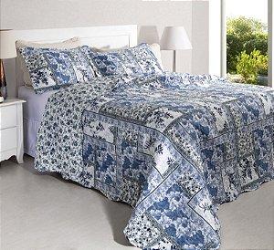 Colcha Casal Patchwork Portofino 4 Branco com Tons de Azul 2,40 x 2,20 - 3 peças