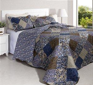 Colcha Casal Patchwork Portofino 3 Tons de Azul 2,40 x 2,20 - 3 peças