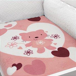 Cobertor Estampado Baby Soft Urso Rosa com Corações 0,90 x 1,10 Macio