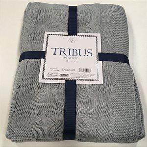 Manta Tricot Tribus Cinza 1,60 x 1,20 cm Macia