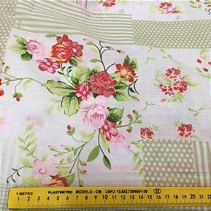 Tecido Tricoline Chita Patchwork Floral fendi Branco e Vermelho - Gramado 76