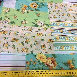Tecido Tricoline Chita Patchwork Floral tons de Verde - Gramado 79