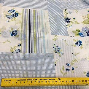 Tecido Tricoline Chita Patchwork Poa e Flores Azul - Gramado 80