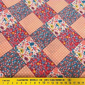 Tecido Tricoline Chita Patchwork Quadriculado Bules e Flores - Gramado 89