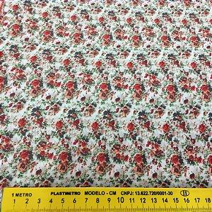 Tecido Tricoline Chita Patchwork Floral Branco com vermelho - Gramado 90