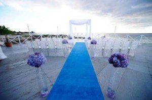 Passadeira Carpete 2m Largura Azul Turquesa Para Casamento, Festas 20 Metros de comprimento