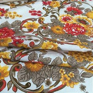 Tecido Jacard Estilo Linho Floral Amarelo e Vermelho - Michigan 07