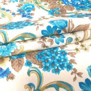 Tecido Jacard Estilo Linho Floral Azul Turquesa - Michigan 09