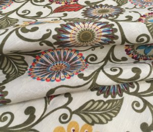 Tecido Jacard Estilo Linho Floral Mandala Tons de Verde - Michigan 14