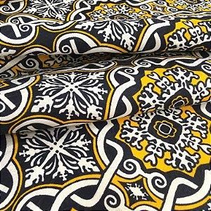 Tecido Jacard Estilo Linho Gradil Amarelo e Azul Marinho - Michigan 19
