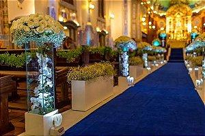 Passadeira Carpete 2m Largura Azul Royal Para Casamento, Festas 10 Metros de comprimento