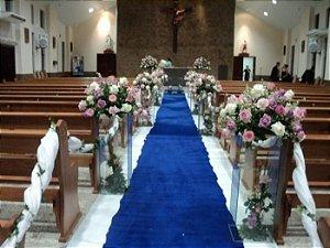 Passadeira Carpete 2m Largura Azul Royal Para Casamento, Festas 20 Metros de comprimento
