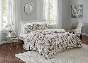 Colcha Boutis Queen Floral Cinza, Tiffany e Creme Terra 3 peças Corttex