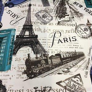 Tecido Veludo 3D Estilo Paris Fundo Creme