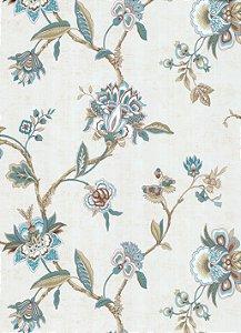 Papel de Parede Vitoriano Flores Creme, Tiffany e Bege SZ-003310