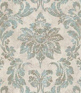 Papel de Parede Vitoriano Folhas e Flores Tiffany e bege SZ-003347