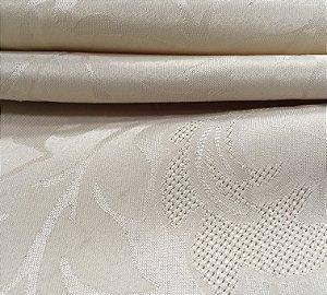 Tecido Jacquard Florata Adamascado Floral Marfim