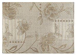 Tapete para Sala Sisal Antiderrapante com Proteção de Borda Sisle Floral Bege 1,00x1,50