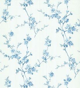 Papel de Parede Garden Estilo Ramos Azul e Branco - SZ002775