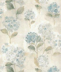 Papel de Parede Garden Flores e Folhas Azul Claro e Creme - SZ003011
