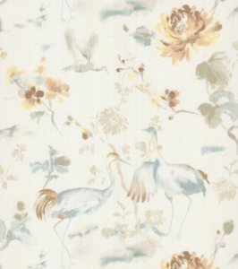 Papel de Parede Garden Garças e Flores Dourado e Creme - SZ003035