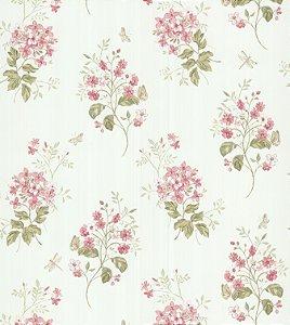 Papel de Parede Garden Ramos e Flores Rosê e Verde - SZ002701