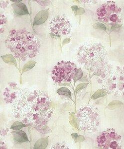 Papel de Parede Garden Flores e Folhas Lilás - SZ003013