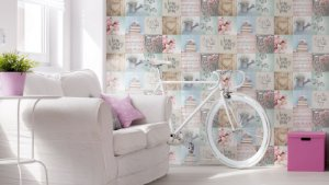 Papel de Parede Freestyle Estilo Patchwork Flores e Bike - 102564