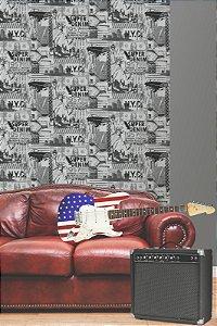 Papel de Parede Freestyle Estilo New York Bandeira Preta e Prata - L32409