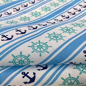 Tecido Tricoline Chita Patchwork Ancoras e Leme Azul e Branco Gramado 95