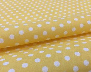 Tecido Tricoline Chita Patchwork Poa Amarelo e Branco Gramado 103