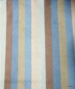 Tecido Suede Listrado Marrom, Azul, Creme