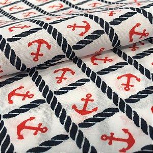 Tecido Tricoline Chita Patchwork Ancoras Vermelho e Branco Gramado 96