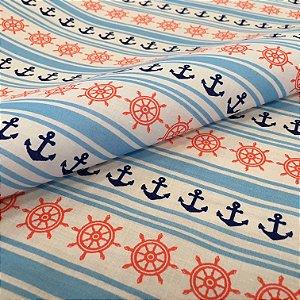 Tecido Tricoline Chita Patchwork Ancoras e Lemes Vermelho, Azul e Branco Gramado 97