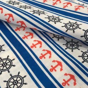 Tecido Tricoline Chita Patchwork Ancoras e Lemes Preto, Azul e Branco Gramado 98
