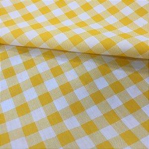 Tecido Tricoline Chita Patchwork Xadrez Branco e Amarelo Gramado 106