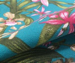 Tecido Estilo Linho Impermeável Floral Rosa Fundo Tiffany - Ilhabela 09