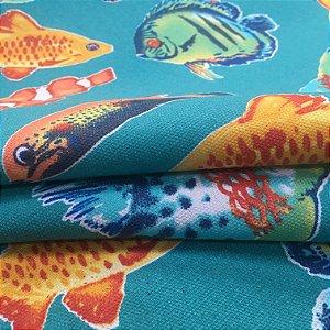 Tecido Estilo Linho Impermeável Peixes Coloridos Fundo Tiffany - Ilhabela 10